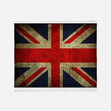 Vintage Grunge Union Jack UK Flag Throw Blanket