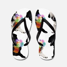 Black and Fawn Spring Pugs Flip Flops