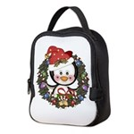 Christmas Penguin Holiday Wreath Neoprene Lunch Ba
