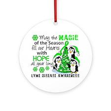 Lyme Disease Christmas Penguins 1 Ornament (Round)