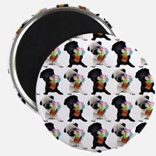 """Black and Fawn Spring Pugs 2.25"""" Magnet (10 pack)"""