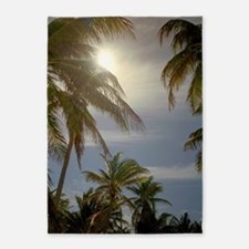 sunset palm silhouette 5'x7'Area Rug
