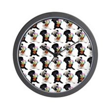 Black and Fawn Spring Pugs Wall Clock