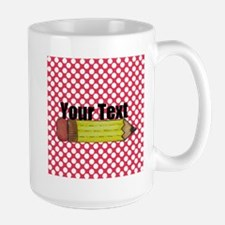 Personalizable Pencil on Red and White Mugs