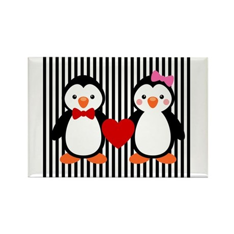 Penguin Couple on Black and White Stripes Magnets