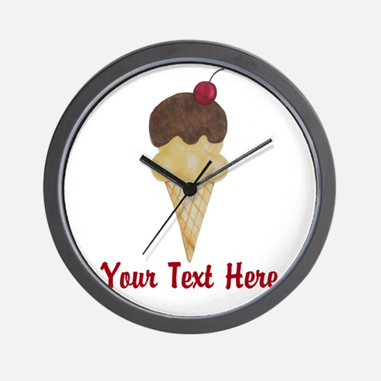 Personalizable Double Scoop Ice Cream Wall Clock