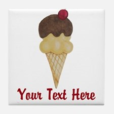 Personalizable Double Scoop Ice Cream Tile Coaster