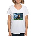 Lilies #5-Cavalier (BT) Women's V-Neck T-Shirt