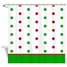 Holiday Red and Green Dots Shower Curtain