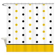 Black and Orange Polka Dots Shower Curtain