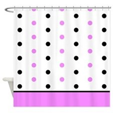 Black and Pink Polka Dots Shower Curtain