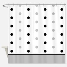 Black and Grey Polka Dots Shower Curtain