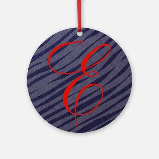 Red E Initial on Grey Zebra Stripes Ornament (Roun