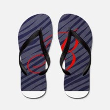Red B Initial on Grey Zebra Stripes Flip Flops