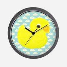 Rubber Duck on Clouds Wall Clock