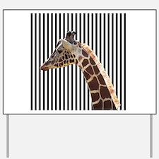 Giraffe on Black and White Stripes Yard Sign
