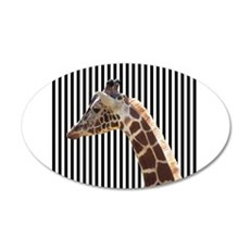 Giraffe on Black and White Stripes Wall Decal