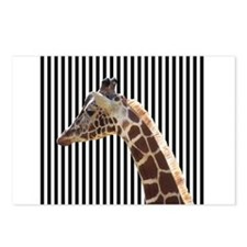 Giraffe on Black and White Stripes Postcards (Pack
