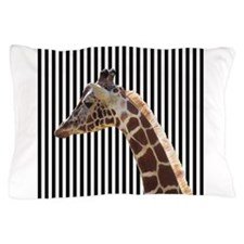 Giraffe on Black and White Stripes Pillow Case