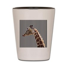 Giraffe on Black and White Stripes Shot Glass
