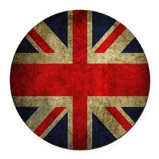 Vintage Grunge Union Jack UK Flag Round Car Magnet