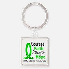 Lyme Disease CourageFaith1 Square Keychain