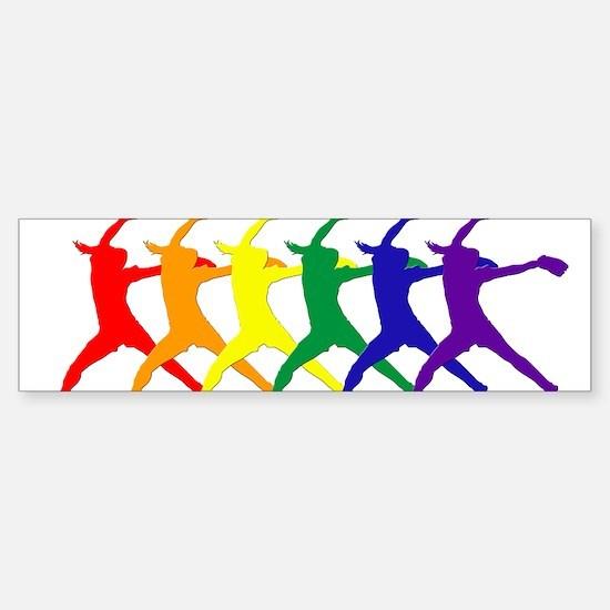 Fastpitch Pitcher Rainbow Bevel Bumper Car Car Sticker