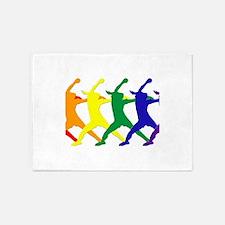 Fastpitch Pitcher Rainbow Bevel 5'x7'Area Rug