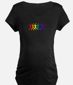 Fastpitch Pitcher Rainbow Bevel Maternity T-Shirt