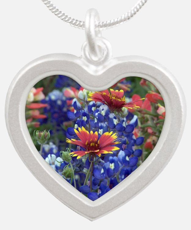 Texas Wildflowers Silver Heart Necklace