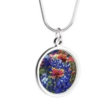 Texas Wildflowers Silver Round Necklace