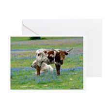 Longhorn in the bluebonnets Greeting Card