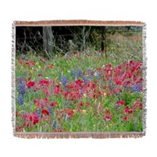 Wildflowers in red Woven Blanket
