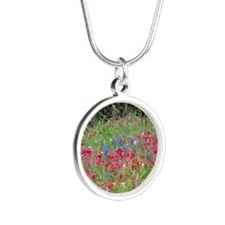 Wildflowers in red Silver Round Necklace