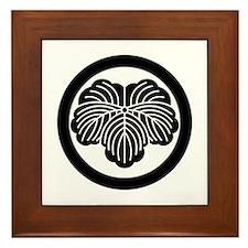 Ivy leaf in circle Framed Tile