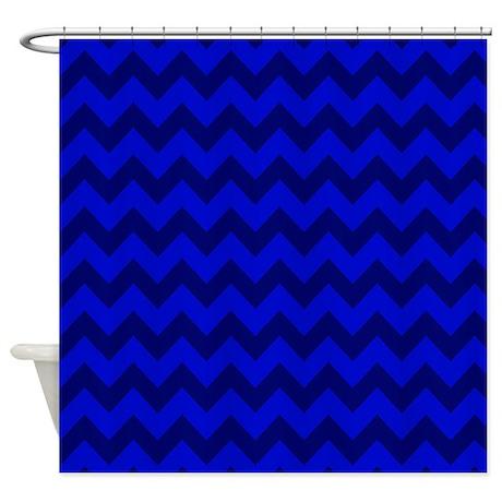 Dark Blue Chevron Shower Curtain By PatternedShop