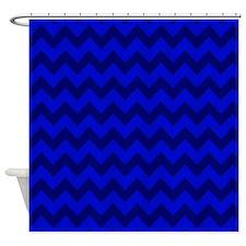 Dark Blue Chevron Shower Curtain