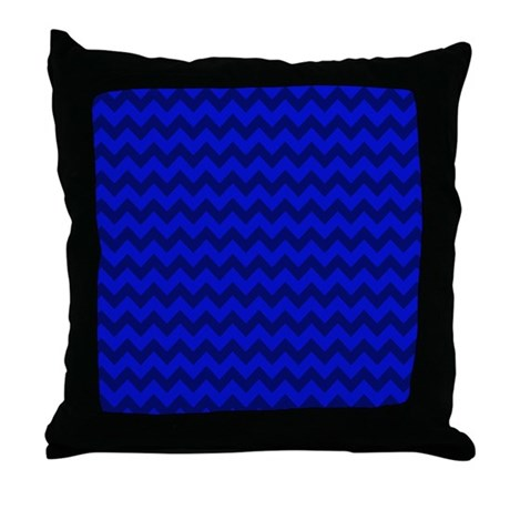 Dark Blue Throw Pillow : Dark Blue Chevron Throw Pillow by PatternedShop