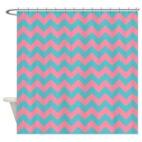 Pink And Blue Chevron Shower Curtain By Patternedshop