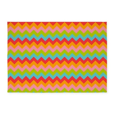 Bright Colored Chevron Pattern 5u0027x7u0027Area Rug