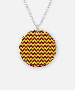 Maroon and Gold Chevron Necklace