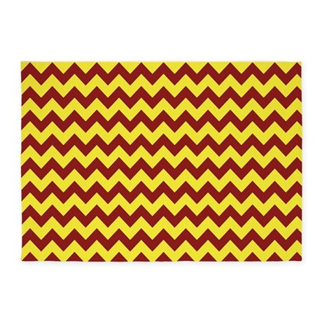 Maroon and Gold Chevron 5u0027x7u0027Area Rug