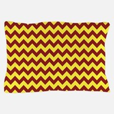 Maroon and Gold Chevron Pillow Case