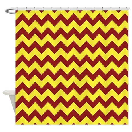Maroon And Gold Chevron Shower Curtain By PatternedShop
