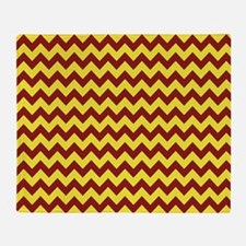 Maroon and Gold Chevron Throw Blanket
