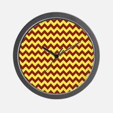 Maroon and Gold Chevron Wall Clock