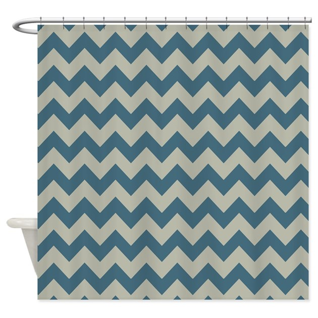 Blue And Gray Chevron Patterned Shower Curtain By PatternedShop