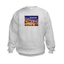 Boston Harbor at Night text BOSTON copy Sweatshirt