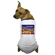 Boston Harbor at Night text BOSTON copy Dog T-Shir