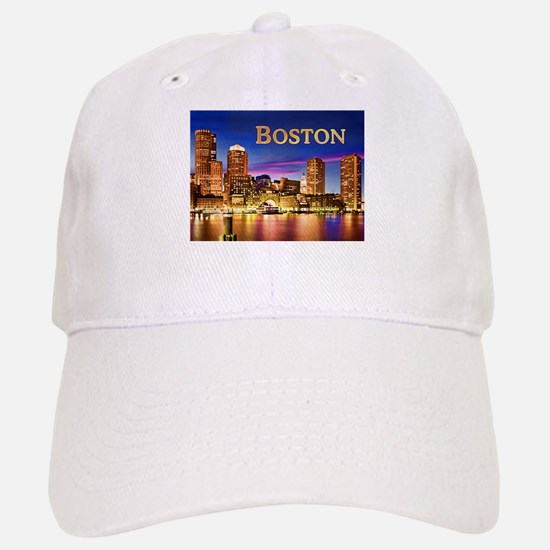 Boston Harbor at Night text BOSTON copy Baseball C